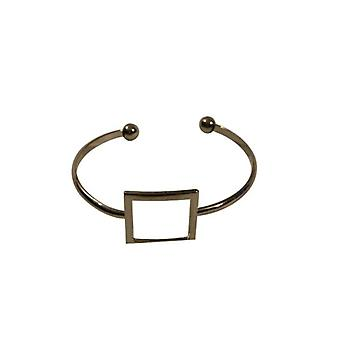 Silver-colored minimalist chic statement cuff bracelet with square
