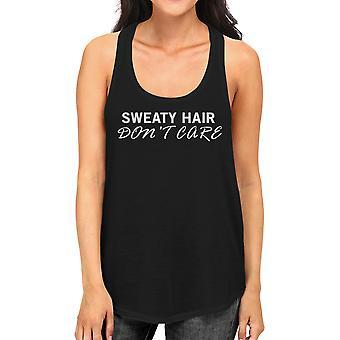 Sweat Hair Don't Care Tank Top Cute Work Out Sleeveless Shirt