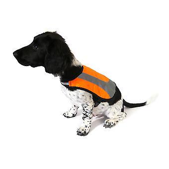 Premie reflecterende hond jas oranje groot