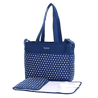 Slimbridge Bremen Baby Tote Bag with Changing Mat, Navy Dots