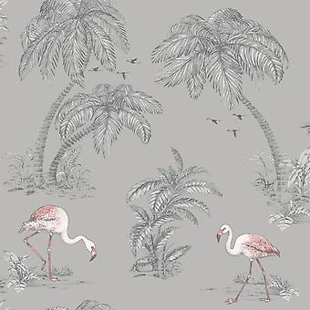Flamingo Lake Wallpaper Palm Trees Tropical Birds Grey Coral Holden