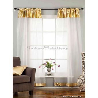 White with Gold Satin Rod Pocket Sheer Tissue Curtain / Drape / Panel-84
