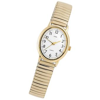 JOBO ladies watch, quartz analog, cable, stainless steel, gold-plated, mineral glass, water-protected