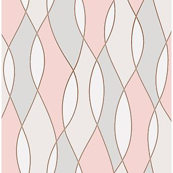 3D Effect Apex Wave Geometric Wallpaper Pink White Metallic Rose Gold Fine Decor