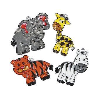 24 Zoo Animal Plastic Suncatchers for Kids Glass Painting Crafts