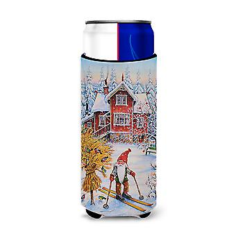 Christmas Gnome Skiing Ultra Beverage Insulators for slim cans