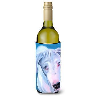 White Great Dane Wine Bottle beverage Insulator Hugger