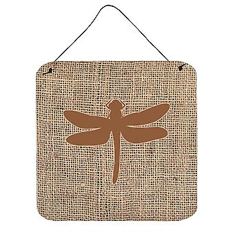 Dragonfly Burlap and Brown Aluminium Metal Wall or Door Hanging Prints BB1062