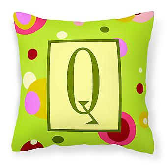 Letter Q Initial Monogram - Green Decorative   Canvas Fabric Pillow
