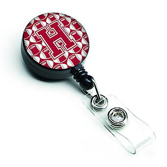 Letter H Football Crimson, grey and white Retractable Badge Reel