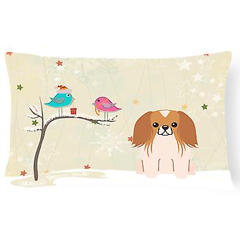 Christmas Presents between Friends Pekingnese Red White Canvas Fabric Decorative
