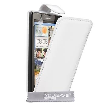 Huawei Ascend G740 Leather-Effect Flip Case - White