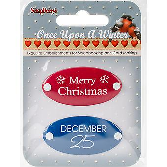ScrapBerry's Once Upon A Winter Metal Embellishments 2/Pkg-#3 Word Plates 3409104