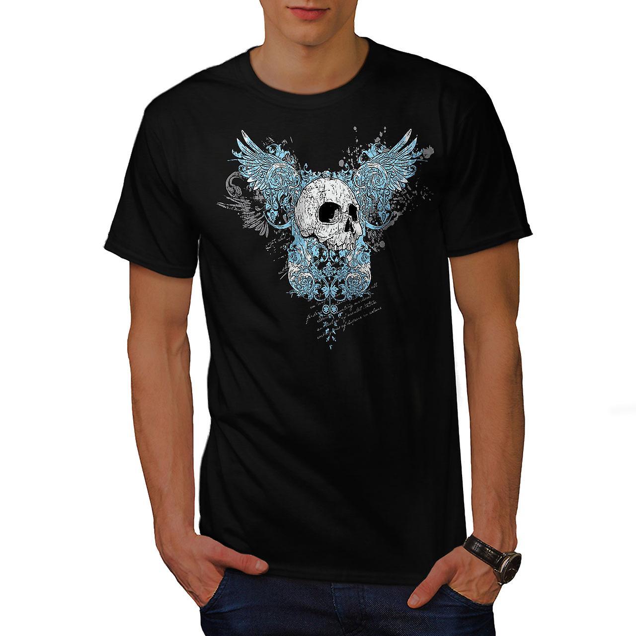 Wings Goth Biker Skull Men Black T-shirt | Wellcoda