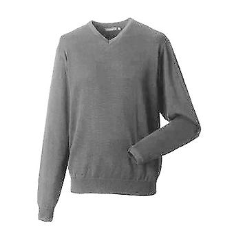 Russell Collection Mens V-Neck Knitted Pullover Sweatshirt