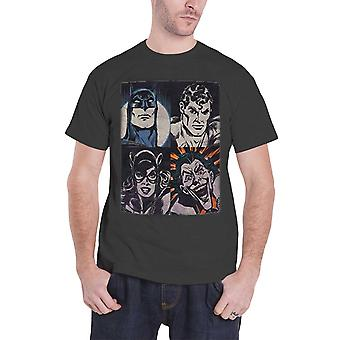 Superhero T Shirt Four Faces batman superman Official DC Originals Mens Grey