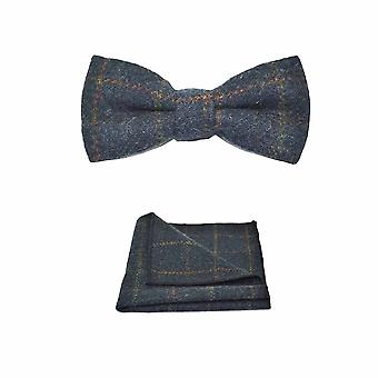 Erfgoed Check donkerblauw strikje & zak plein Set - Tweed, geruite land Look