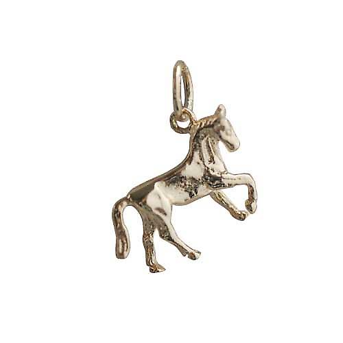 9ct Gold 12x15mm Horse standing lifting a front hoof Charm