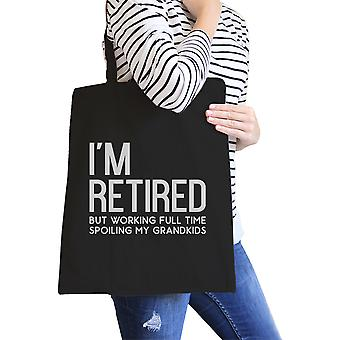 Retired Grandkids Black Canvas Shoulder Bag Unique Graphic Bag