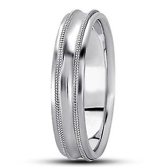 Mens Bright Polished 5 mm Wedding Band 10K White Gold