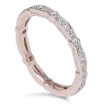 3 / 8ct empilable Diamond Eternity Ring 14K Or Rose