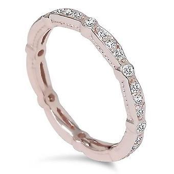 3 / 8ct стекируемых алмаз вечности кольцо 14K розовое золото
