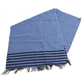 Bassin and Brown Studd Birdseye Stripe Scarf - Blue/Navy