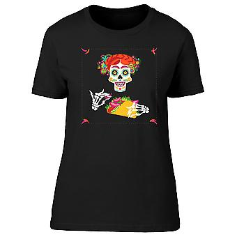 Sugar Skull With A Taco Tee Women's -Image by Shutterstock