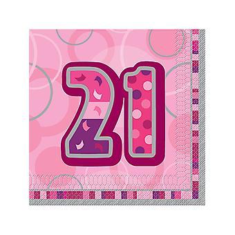 Fødselsdag Glitz Pink - 21 fødselsdag - frokost servietter