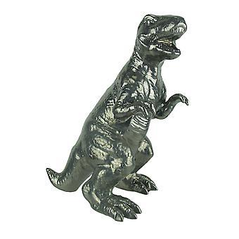 Metallic Silver Finish Tyrannosaurus Rex Ceramic Statue T-Rex