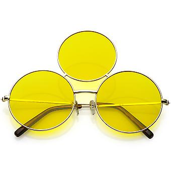 Oversize Circle Third Eye Sunglasses Slim Arms 56mm
