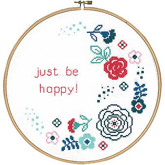 Modern Flowers Be Happy On Aida Counted Cross Stitch Kit-9.6