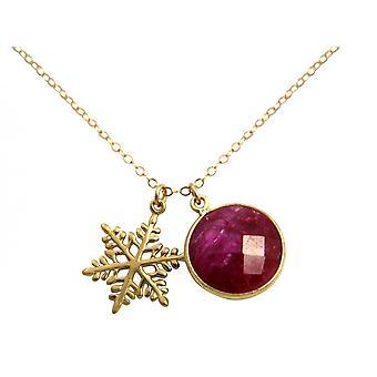 Gemshine Halskette Anhänger SCHNEEFLOCKE 925 Silber Vergoldet Rubin Rot