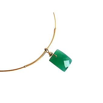 Gemshine - ladies - pendant - necklace - gold plated - Onyx - faceted - green - 45 cm