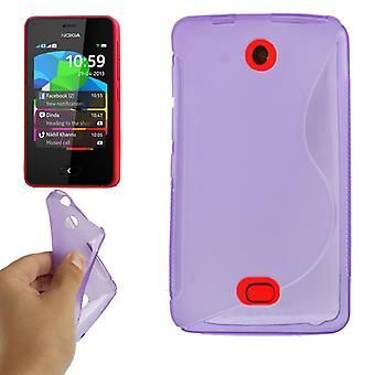 Proteção de shell celular TPU para celular Nokia ASHA 501 roxo