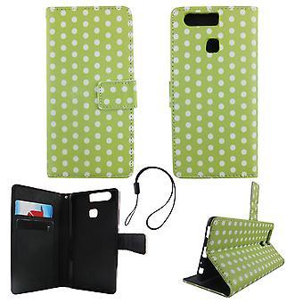 携帯電話モバイルの huawei 社 P9 水玉グリーン ホワイト ポーチ