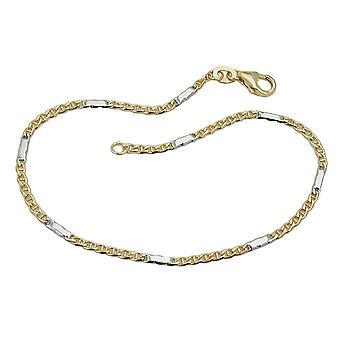 1, 9mm Steg tank of bicolor 9Kt GOLD bracelet 19 cm