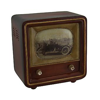 Brown Vintage Finish Square Retro Television Coin Bank 6 Inch