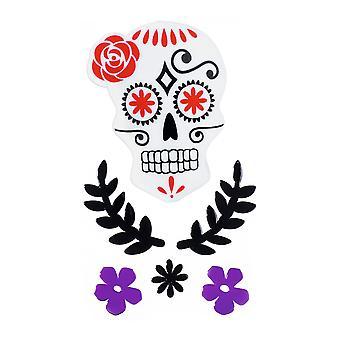 TRIXES Purple Skull Floral Halloween Window Decorations - Gel Clings