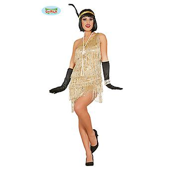Golden Charleston dress Carnival 20s party costume fringed ladies Lady costume mafia gangster's wife flapper