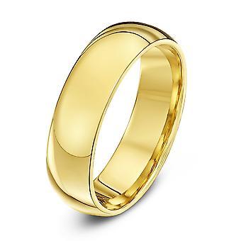 خاتم نجمة المحكمة الثقيلة الإضافية الذهب الأصفر 18 قيراط الشكل 6 مم خاتم الزواج