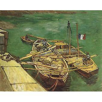 Набережная с мужчинами выгрузки песка барж, Винсент Ван Гог, 66,2 x 55.1 см