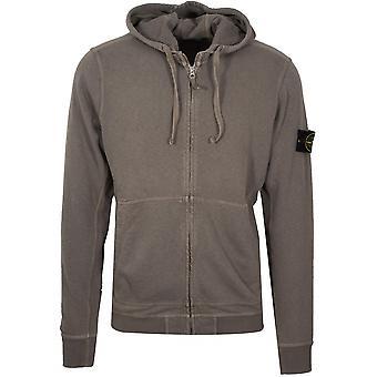 Stone Island Stone Island Khaki Zipped Hooded Sweatshirt