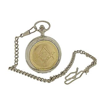 Boxx Gents Two Tone Masonic Design Cover Pocket Watch 14 Inch Chain BOXX395