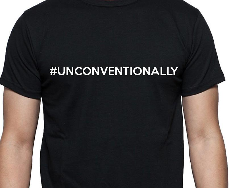#Unconventionally Hashag Unconventionally Black Hand Printed T shirt