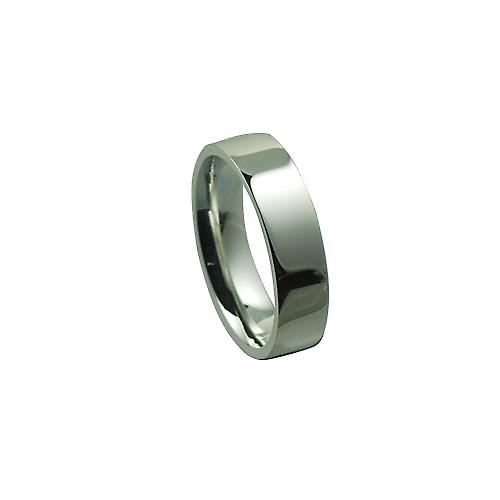 Silver 6mm plain Flat Court wedding ring