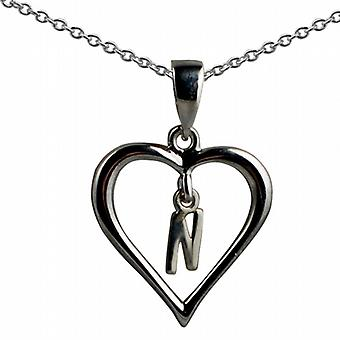 Zilver 18x18mm eerste N in een hart hanger met een rolo ketting 20 inch