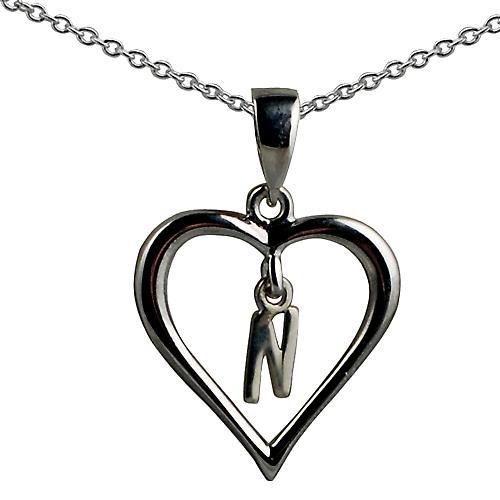 Silver 18x18mm initial N in a heart Pendant with a rolo Chain 14 inches Only Suitable for Children