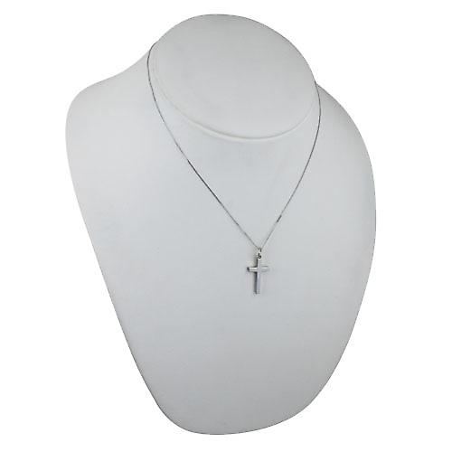 9ct White Gold 25x15mm plain solid block Cross with a curb Chain 18 inches