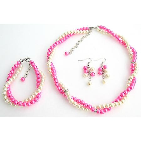 Ivory Hot Pink Two Strand Twisted Bridal Complete Sets Special Occasion